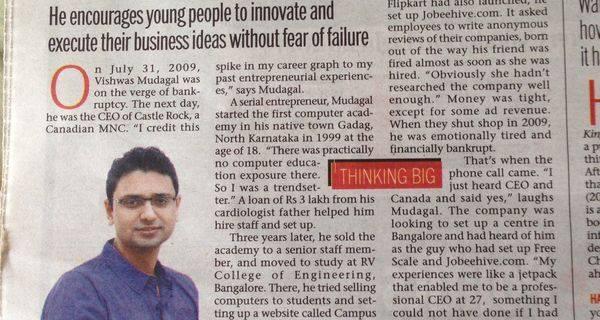 In News: Bangalore Mirror covers Vishwas Mudagal