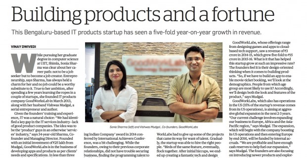 Economic Times story: How IT products startup GoodWorkLabs clocked five-fold revenue growth