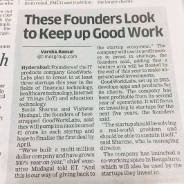 Economic Times announces GoodWorkLabs Founders as Angel Investors