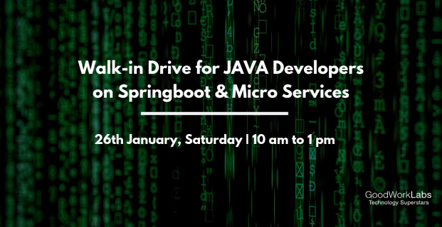Walk in drive for Java developers (Spring boot and Microservices)