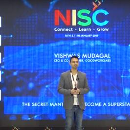"""Vishwas Mudagal talks on """"The Secret Mantras to become a Superstar CEO"""" at Nasscom event"""