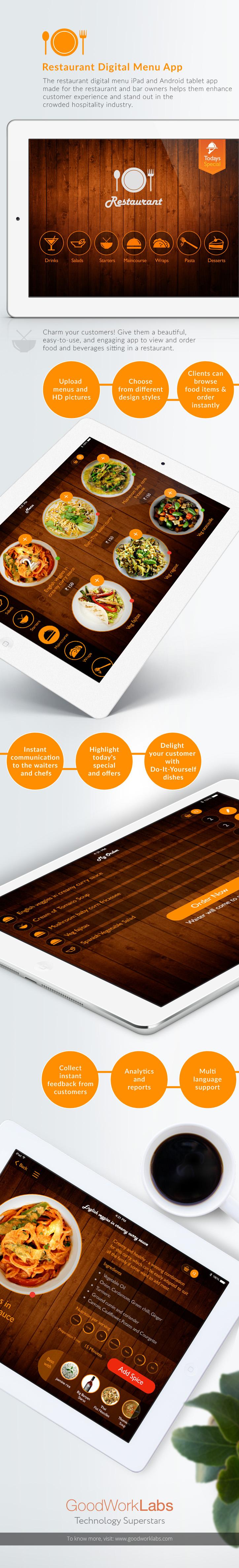 Restaurant digital menu ipad android tablet app