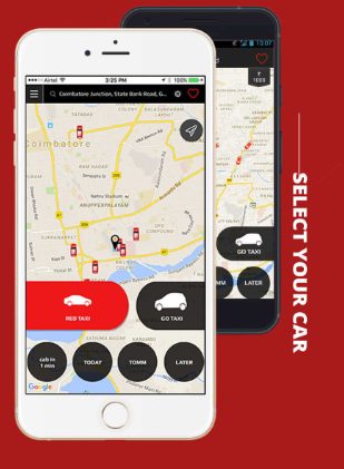 Red taxi mobile app booking screen